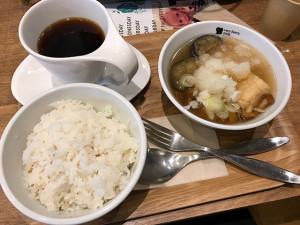 蟹と揚げ出し豆腐の和風みぞれスープ。ご飯とセットで